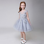 A-line Knee-length Flower Girl Dress - Tulle Sleeveless Jewel with Appliques / Beading / Sequins
