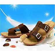Γυναικεία παπούτσια-Σαμπό & Mule-Ύπαιθρος-Επίπεδο Τακούνι-Παντόφλες-Δερμάτινο-Καφέ