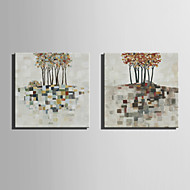 E-HOME® Stretched Canvas Art Color Tree Decoration Painting  Set of 2