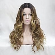 Mulher Perucas sintéticas Frente de Malha Longo Ondulado Marrom Cabelo Ombre Raízes Escuras Cabelo com Luzes/Reflexos Riscas Naturais