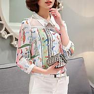 Langærmet Kvinders Patchwork Krave Bluse Polyester
