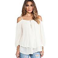 Damen Solide Einfach Lässig/Alltäglich Bluse,Gurt Herbst Langarm Weiß Baumwolle Undurchsichtig