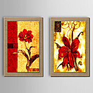 Ręcznie malowane Streszczenie / Martwa natura / Kaprys / Kwiatowy/Roślinny Obrazy olejne,Nowoczesny / Tradycyjne / Fason europejskiDwa