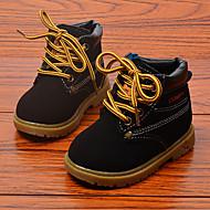 לבנות-מגפיים-מיקרופייבר-מגפי צבא-שחור / חום / צהוב-שטח-עקב שטוח