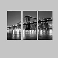 e-Home® stadsbrug decoratieve canvas met led verlichting set van 3
