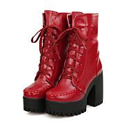 Bootsit-Leveä korko Platform Block Heel-Naiset-Tekonahka-Musta Ruskea Punainen Sininen-Rento Juhlat-Platform Saappaat