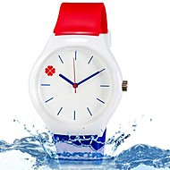 Children's Fashion Lovely Four Leaf Clover Design Casual Wrist Quartz Watch with Silicone Band