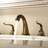 現代風 / アンティーク調 / 伝統風 / 近代の 組み合わせ式 ワイドspary with  セラミックバルブ 二つのハンドル三穴 for  アンティーク銅 , 浴槽用水栓 / バスルームのシンクの蛇口