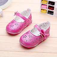 Girl's Flats Spring / Summer / Fall Closed Toe / Flats Leatherette Outdoor Flat Heel Bowknot / Magic Tape Pink