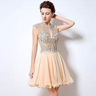 Cocktail Vestito Linea-A Con decorazione gioiello Corto / mini Chiffon con Perline / Dettagli con cristalli