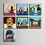 E-HOME® Stretched Canvas Art  Pet At Home Series Decoration Painting MINI SIZE One Pcs