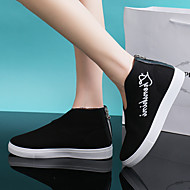 Damen Sneaker Komfort Leinwand Frühling Herbst Normal Walking Komfort Flacher Absatz Weiß Schwarz Rot Flach