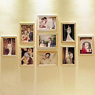 7 Inch Photo Wall Combination 9 Wood Frames Combination For Living Room Bedroom And Studio