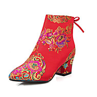Women's Boots Fall Winter Embroidered Shoes Club Shoes Light Up Shoes Silk Customized Materials Wedding Chunky Heel Satin Flower Red Other