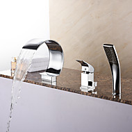 Top Grade Tub Waterfall / Handshower Included with Ceramic Valve 1-Handle 3- Holes for Chrome  Bathtub Faucet