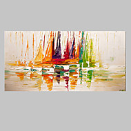 VISUAL STAR®Abstract Boat on Sea Handmade Painting Modern Landscape Wall Art Ready to Hang