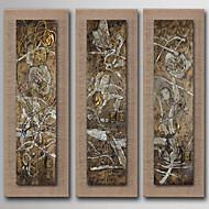 Peint à la main Abstrait / Nature morte / Fantaisie / A fleurs/Botanique Peintures à l'huile,Modern / Réalisme / Style européenTrois