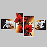 kézzel festett ég piros virágok absztrakt táj fali dísz olaj, vászon 4db / szett keret nélkül