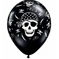 100PCS 12'' thicken Person cranial head Halloween Ball For Birthday Party Decor Pirate Printing Latex Balloons Helium