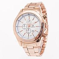 Fashion Luxury Rose  Golden Steel Band Men's Wristwatch Business Watch With Calender Quartz Watch For Gentlemen