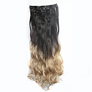 "24inch7pcs / סט קליפ תוספות שיער שיער סינטטי עמיד חום פאה ארוכת ה""אומבר"" הגלויה טבעי מתולתל צבע מטבל"