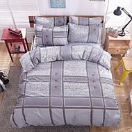 bedtoppings tješitelj duvet poplun cover 4pcs postaviti queen size stan list jastučnicu sivi list ispisuje mikrovlakana