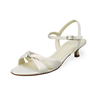 Women's Sandals Summer Sandals / Open Toe Stretch Satin Wedding / Party & Evening Low Heel Crystal Ivory / White Others