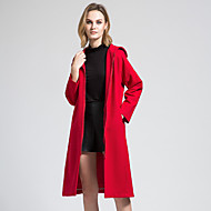 BORME Women's V Neck Long Sleeve Wool & Blends Red-Z832