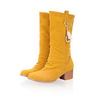 Bootsit-Leveä korko Block Heel-Naiset-Tekonahka-Keltainen Punainen Vihreä Sininen-Rento Juhlat-Saappaat