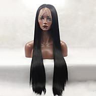 de largo de color negro sin cola peluca recta del frente del cordón sintético de moda para las mujeres pelucas