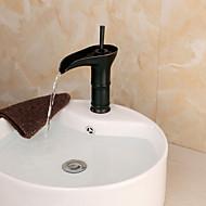 Bathroom Deck Mounted Oil-rubbed Bronze Waterfall Single Handle Single Hole Basin Faucet