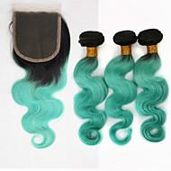 Trama do cabelo com Encerramento Cabelo Brasileiro Onda de Corpo 12 meses 3 Peças tece cabelo