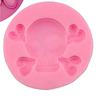 Halloween Skull Silicone Double Sugar Cake Mould DIY Baking Chocolate Tools 6.6*1cm Cake  Bread  Mousse  Jelly   Etc