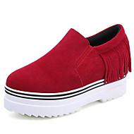 נשים-נעליים ללא שרוכים-פליז-קריפרס-שחור / אדום-שטח / קז'ואל-פלטפורמה