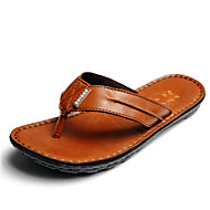 Men's Slippers & Flip-Flops Summer Leather Casual Flat Heel Others Black Brown Green Other