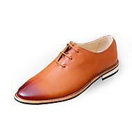 Herre-PU-Flat hæl-Komfort formell Sko-Oxfords-Fritid-Svart Brun Rød Grå