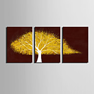 E-HOME® Stretched Canvas Art A Yellow Tree Decoration Painting  Set of 3