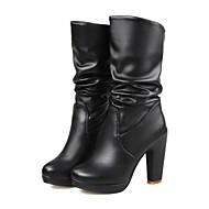נשים-מגפיים-דמוי עור-פלטפורמה / מגפי אופנה-שחור / לבן-קז'ואל / מסיבה וערב-עקב עבה