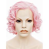 imstyle 10short roze krullend synthetisch haar pruik lace front