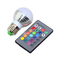 3W RGB E27 Bulb Lamp / Remote Control Colorful LED Bulb(AC 85-265V)
