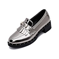 Women's Oxfords Summer / Fall Round Toe PU Casual Low Heel Stitching Lace Black / Silver Others