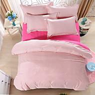 bedtoppings Consolador capa de edredão colcha 4pcs set queen size folha fronha plana padrão de verificação do rosa imprime microfibra