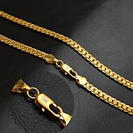 Dame Herre Par Kædehalskæde Cirkelformet Gyldent 18K guld Mode Klassisk Personaliseret Gylden Smykker ForBryllup Fest Daglig Afslappet