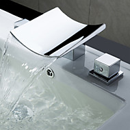Contemporary / Modern Widespread Waterfall  Ceramic Valve Two Handles Three Holes for  Chrome  Bathtub Faucet /