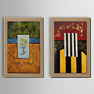 Oil Painting Modern Abstract Color Lump Set of 2 Hand Painted Natura Linen With Stretched Frame