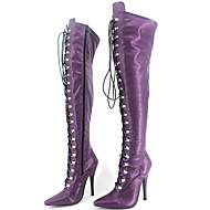 Women's Boots Spring/Fall/Winter Fashion Boots/Motorcycle Boots Patent Leather Party & Evening Stiletto Heel Purple