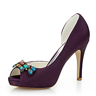 Women's Heels Spring / Summer / Fall Heels Silk Wedding / Party & Evening / Dress Stiletto Heel Rhinestone Purple Others