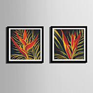 Цветочные мотивы/ботанический Холст в раме / Набор в раме Wall Art,ПВХ Черный Коврик входит в комплект с рамкой Wall Art