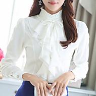 Women's Fashion Work Chiffon Long Sleeve Pure Color Regular Shirt