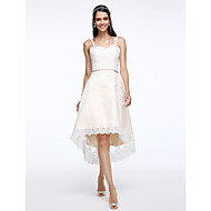 Lanting Bride® A-라인 웨딩 드레스 비대칭 스트랩 튤 와 아플리케 / 크리스탈